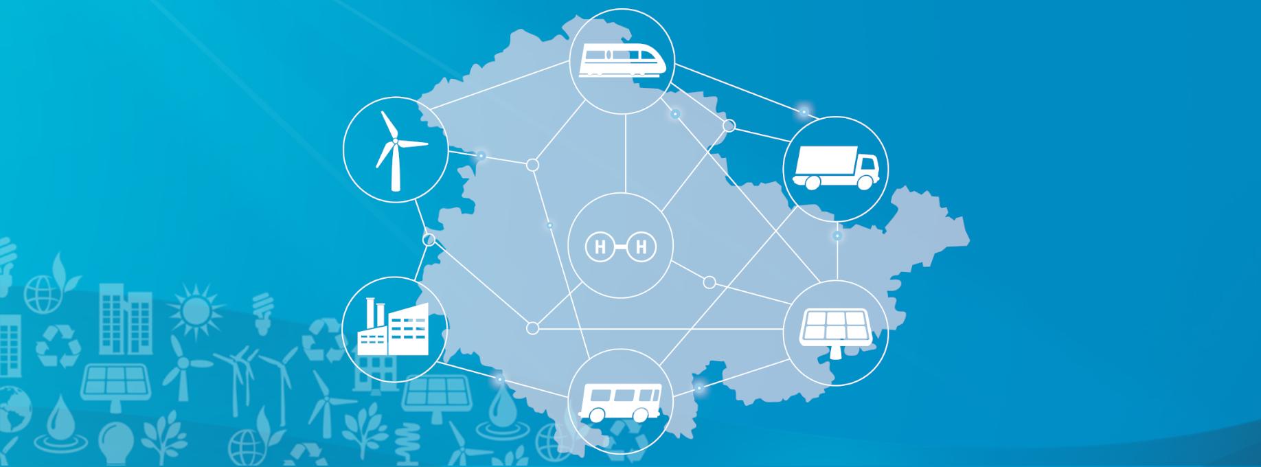 Netzwerk für Wasserstoff: Wind, Sonne und Biomasse als Basis für die Erzeugung; Industrie, Schwerlastverkehr und Bahn als Verbraucher