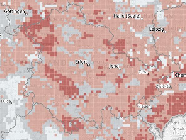 Karte mit Prognosedaten für Thüringen zu Radonvorsorgegebieten (Quelle: Bundesamt für Strahlenschutz)
