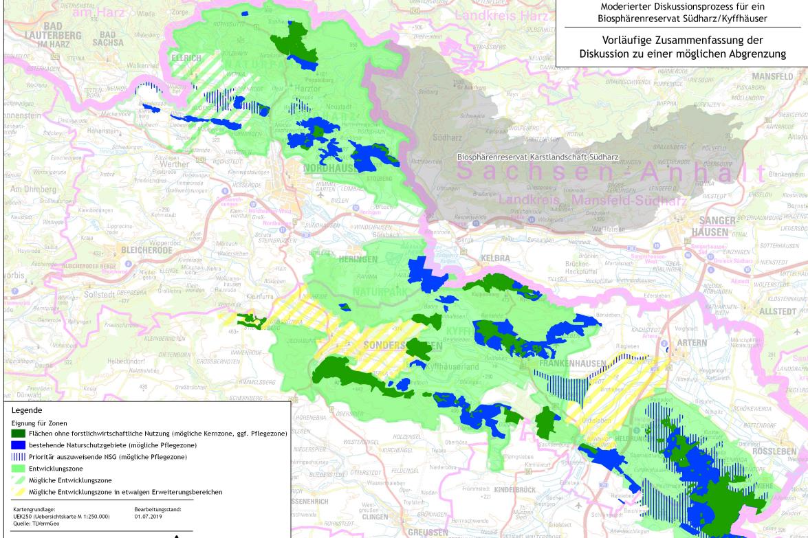 Kartenansicht eines möglichen Biosphärenreservats